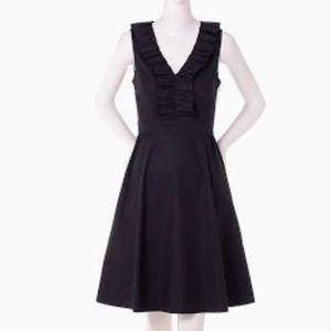 Kate Spade 10 Black Dress LBD Poplin Ruffle V Neck